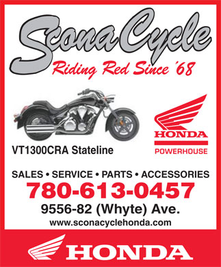 Scona Cycle Honda (780-613-0158) - Annonce illustrée - VT1300CRA Stateline SALES   SERVICE   PARTS   ACCESSORIES 780-613-0457 9556-82 (Whyte) Ave. www.sconacyclehonda.com
