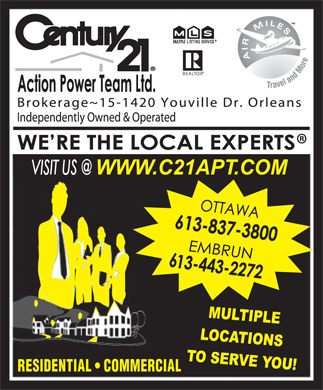 Century 21 Action Power Team (613-837-3800) - Display Ad - RESIDENTIAL   COMMERCIAL