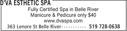 D'va Esthetic Spa (519-728-0638) - Display Ad