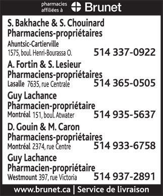 Brunet Pharmacies Affili&eacute;es (514-935-5637) - Annonce illustr&eacute;e