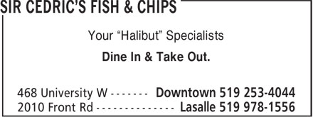 Sir Cedric`s Fish &amp; Chips (519-978-1556) - Display Ad