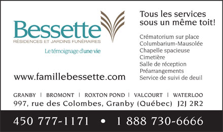 Bessette (450-777-1171) - Display Ad
