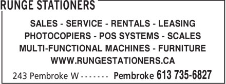 Runge Stationers (613-735-6827) - Display Ad - PHOTOCOPIERS - POS SYSTEMS - SCALES MULTI-FUNCTIONAL MACHINES - FURNITURE WWW.RUNGESTATIONERS.CA SALES - SERVICE - RENTALS - LEASING