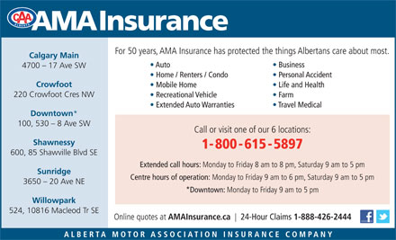 AMA Insurance (1-800-615-5897) - Annonce illustr&eacute;e