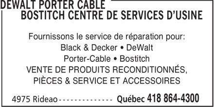 Dewalt Porter Cable Bostitch Centre De Services d'Usine (418-864-4300) - Display Ad