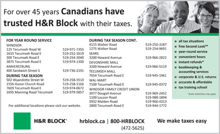H&R Block (519-254-3040) - Display Ad