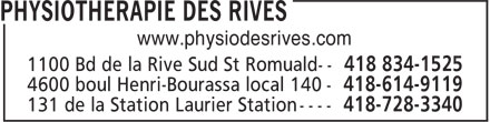 Physiothérapie des Rives (418-834-1525) - Display Ad - www.physiodesrives.com