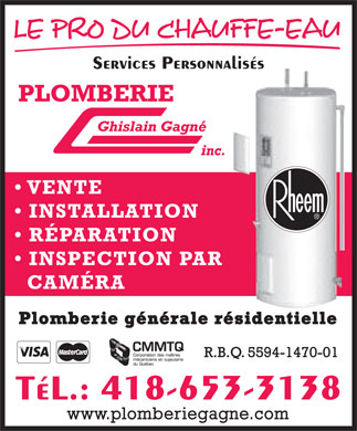 Plomberie Ghislain Gagn&eacute; Inc (418-653-3138) - Annonce illustr&eacute;e - Services Personnalis&eacute;s T&eacute;L.: 418-653-3138