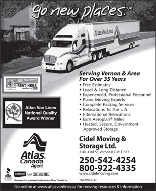 Cidel Moving & Storage Ltd (250-542-4254) - Annonce illustrée