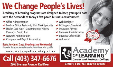 Academy of Learning Career and Business College (403-347-6676) - Annonce illustr&eacute;e