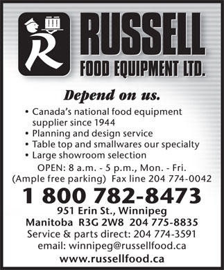 Russell Food Equipment Ltd (204-775-8835) - Annonce illustrée