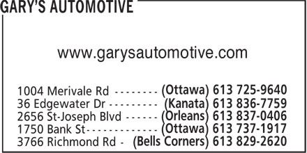 Gary's Automotive (613-725-9640) - Annonce illustrée - www.garysautomotive.com