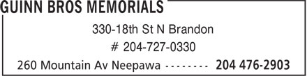 Guinn Bros Memorials (204-476-2903) - Display Ad - 330-18th St N Brandon # 204-727-0330