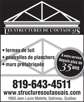 Les Structures De L'Outaouais Inc (819-643-4511) - Annonce illustr&eacute;e