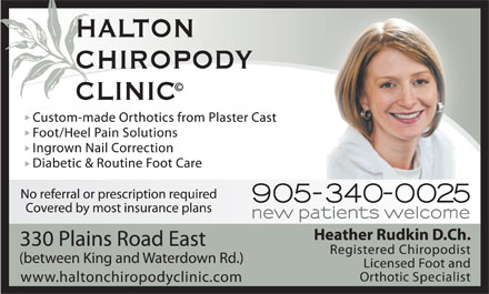 Halton Chiropody Clinic (905-340-0025) - Annonce illustr&eacute;e