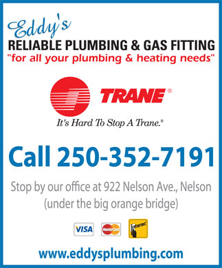 Eddy's Reliable Plumbing &amp; Gas Fitting (250-352-7191) - Display Ad - www.eddysplumbing.com