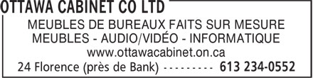 Ottawa Cabinet Co Ltd (613-234-0552) - Annonce illustr&eacute;e - MEUBLES DE BUREAUX FAITS SUR MESURE MEUBLES - AUDIO/VID&Eacute;O - INFORMATIQUE www.ottawacabinet.on.ca