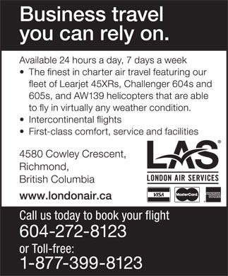 London Air Services Ltd (604-272-8123) - Annonce illustr&eacute;e