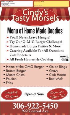 Cindy's Tasty Morsels (306-922-5450) - Menu