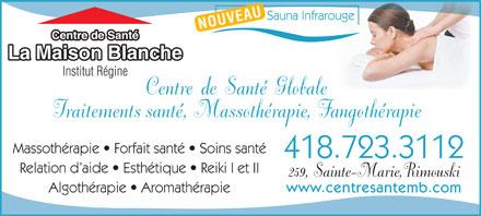 Centre de sant la maison blanche institutr gine 259 for Auberge de la vieille maison rimouski qc