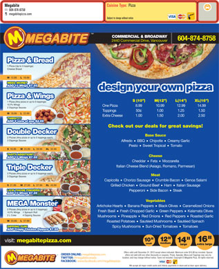 Megabite Pizza (604-874-8758) - Menu