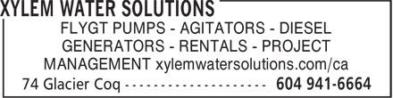 Xylem Water Solutions (604-941-6664) - Annonce illustrée - FLYGT PUMPS - AGITATORS - DIESEL GENERATORS - RENTALS - PROJECT MANAGEMENT xylemwatersolutions.com/ca