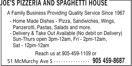 Joe's Pizzeria And Spaghetti House (905-459-8687) - Annonce illustrée