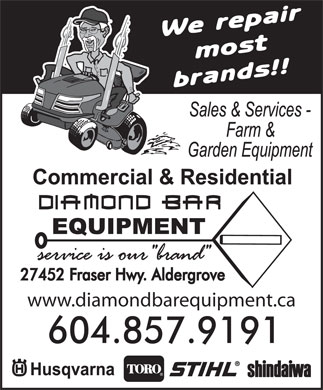Diamond Bar Equipment (604-857-9191) - Annonce illustrée - www.diamondbarequipment.ca