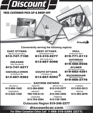 Discount Car and Truck Rentals (613-747-7100) - Display Ad