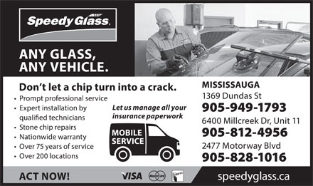 Speedy Glass (905-812-4956) - Display Ad