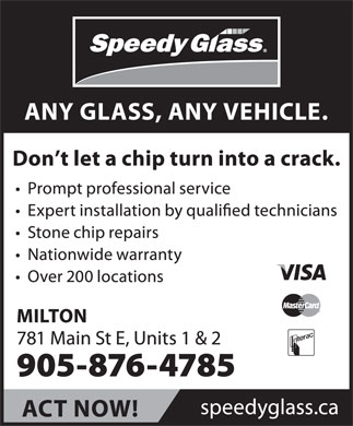 Speedy Glass (905-876-4785) - Display Ad