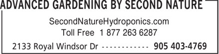 Second Nature Hydroponics (905-403-4769) - Display Ad - SecondNatureHydroponics.com Toll Free 1 877 263 6287