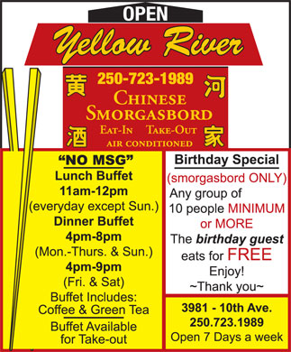 Yellow River Restaurant (250-723-1989) - Display Ad - OPEN OPEN OPEN OPEN