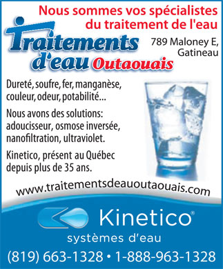 Traitements D'eau Outaouais (819-663-1328) - Display Ad - (819) 663-1328   1-888-963-1328