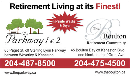 The Parkway Retirement Community (204-487-8500) - Display Ad - & Dryer 1& 2 In-Suite Washer