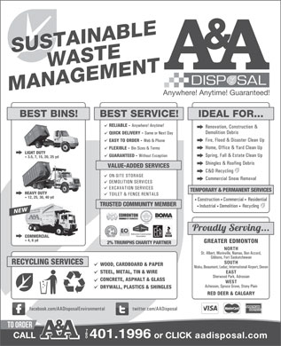 A & A Disposal & Environmental Services Ltd (780-412-1477) - Display Ad - 401.1996 401.1996