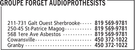 Groupe Forget Audioprothesists (819-569-9781) - Display Ad