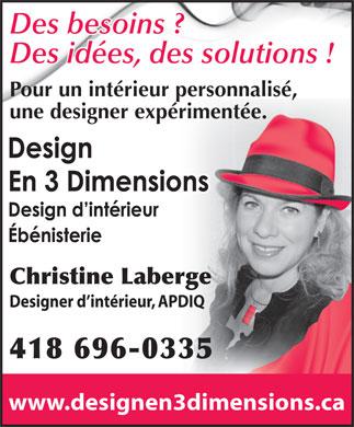 Design en 3 dimensions 480 rte madoc canton tremblay qc - Metier de designer d interieur ...
