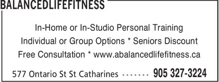 BalancedLifeFitness (905-327-3224) - Annonce illustrée - In-Home or In-Studio Personal Training Individual or Group Options * Seniors Discount Free Consultation * www.abalancedlifefitness.ca
