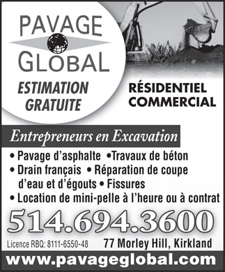 Pavage Global Inc (514-694-3600) - Annonce illustrée