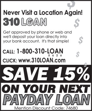 310-LOAN Payday Loans (1-800-310-5626) - Annonce illustr&eacute;e