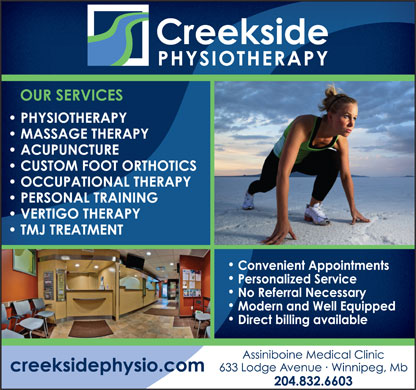 Creekside Physiotherapy & Multi-Service Centre (204-832-6603) - Display Ad
