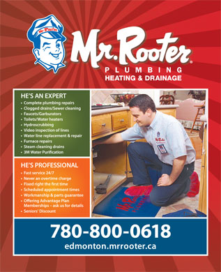 Mr Rooter Plumbing Heating &amp; Drainage (780-800-0618) - Annonce illustr&eacute;e