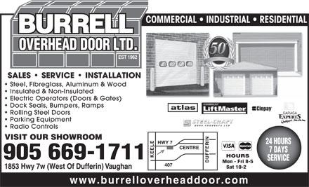Burrell Overhead Doors Ltd 1853 Highway 7 West Vaughan On