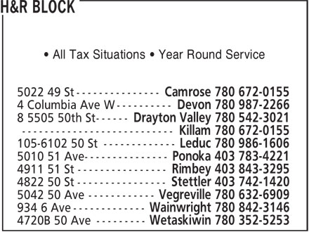 H&R Block (780-672-0155) - Display Ad - • All Tax Situations • Year Round Service