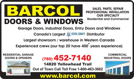 Barcol Doors & Windows (780-452-7140) - Display Ad