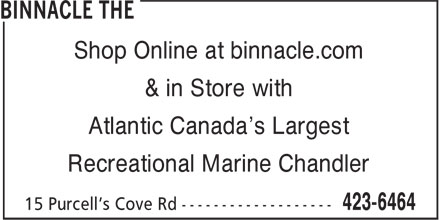 The Binnacle (902-423-6464) - Annonce illustrée - Shop Online at binnacle.com & in Store with Atlantic Canada's Largest Recreational Marine Chandler Shop Online at binnacle.com & in Store with Atlantic Canada's Largest Recreational Marine Chandler