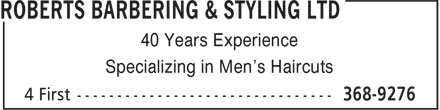 Roberts Barbering & Styling Ltd (709-368-9276) - Display Ad - Specializing in Men's Haircuts 40 Years Experience