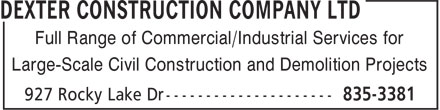 Dexter Construction Company Ltd (902-835-3381) - Annonce illustr&eacute;e - Full Range of Commercial/Industrial Services for Large-Scale Civil Construction and Demolition Projects
