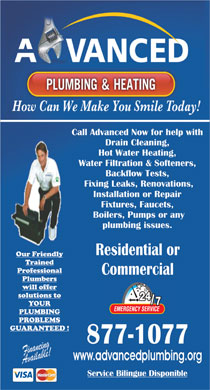 Advanced Plumbing & Heating Services Ltd (506-877-1077) - Annonce illustrée